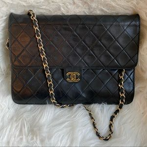 """Authentic CHANEL 10"""" quilted lamb skin bag"""
